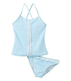 Jessica Simpson Girls' 7-16 Gingham Tankini Set