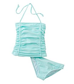 Jessica Simpson Girls' 7-16 Seersucker Tankini Set