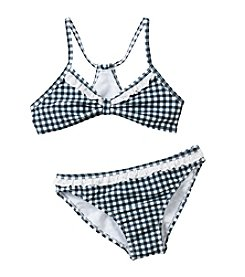 Jessica Simpson Girls' 7-16 Gingham Bikini With Lace Trim Set
