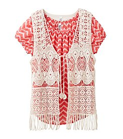 Beautees Girls' 7-16 Chevron Top With Crochet Vest