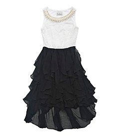 Rare Editions® Girls' 8-16 Lace Bodice With Pearl Neck Dress