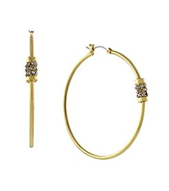 Jessica Simpson Goldtone Rondele Station Hoop Earrings