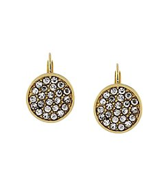 Jessica Simpson Goldtone Pave Disc Leverback Earrings