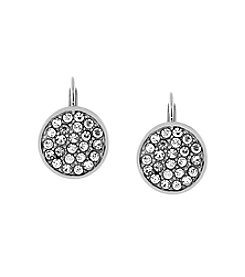 Jessica Simpson Silvertone Pave Disc Leverback Earrings