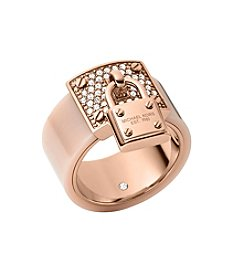 Michael Kors® Rose Goldtone Blush Acetate Clear Pave Padlock Ring