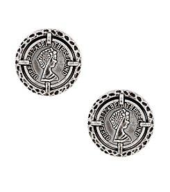 Erica Lyons® Silvertone Sin City Shaky Coin Clip Earrings