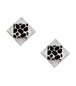 Erica Lyons® Silvertone Opposites Attract Square Clip Earrings