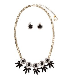 Erica Lyons® Goldtone Five Clusters Necklace and Stud Earrings Set