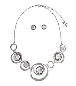 Erica Lyons® Silvertone Open Circles Necklace and Stud Earrings Set