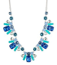 Nine West® Silvertone and Multicolored Blue Stone Drama Frontal Necklace