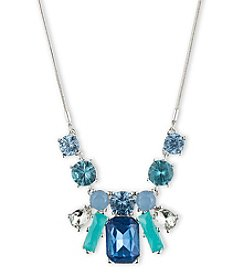 Nine West® Silvertone and Blue Multicolored Stone Frontal Pendant Necklace