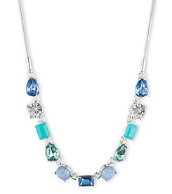 Nine West® Silvertone and Blue Multi Stone Small Frontal Necklace