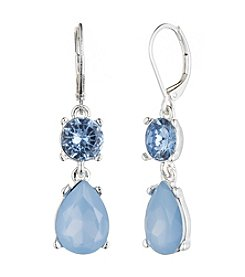Nine West® Silvertone and Blue Stone Double Drop Earrings