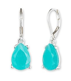Nine West® Silvertone and Turquoise Colored Stone Teardrop Earrings