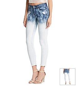 KIIND OF Dip Bleach Sexy Step Hem Capri