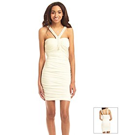 Trixxi® Jeweled Halter Fitted Dress