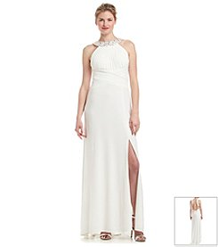 Morgan & Co.® Jeweled Neck Dress