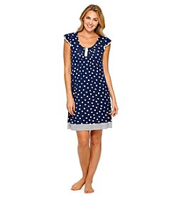 Ellen Tracy® Polka Dot Short Sleeve Knit Chemise