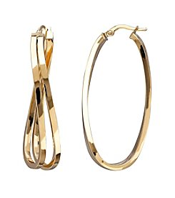 14K Yellow Gold Curved Double Hoop Earrings