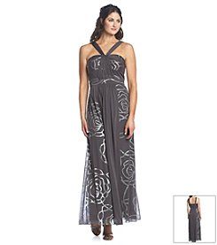 Nine West® Mesh Printed Gown