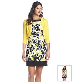 Jessica Howard® Framed Floral Print Dress With Sweater