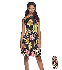 Gabby Skye Floral Laser-Cut Fit And Flare Dress