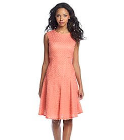 Gabby Skye Textured Knit Fit And Flare Dress