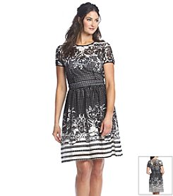 Gabby Skye Lasercut Scuba Fit And Flare Dress