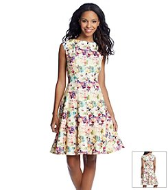 Julian Taylor Floral Print Scuba Fit And Flare Dress
