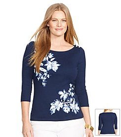 Lauren Ralph Lauren® Plus Size Floral Crop-Sleeved Top