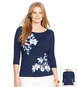 Lauren Ralph Lauren® Plus Size Floral Crop-Sleeved Top