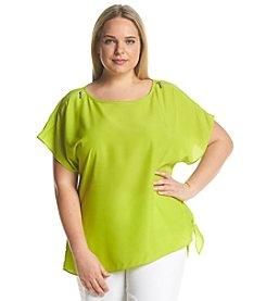 MICHAEL Michael Kors® Plus Size Zipper Shoulder Tie Top