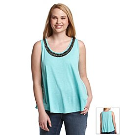 Jessica Simpson Plus Size Camryn Embellished Neck Tank