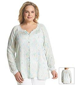 DKNY JEANS® Plus Size Texture Print Blouse