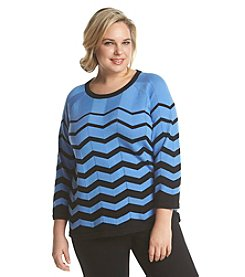 Jones New York Signature® Plus Size Chevron Raglan Top