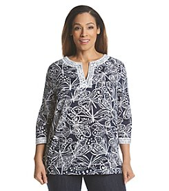 Alfred Dunner® Plus Size Bon Voyage Butterfly Lace Trim Top
