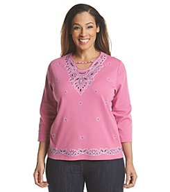 Alfred Dunner® Plus Size Bon Voyage Embellished And Border Knit Top