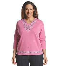 Alfred Dunner® Plus Size Bon Voyage Embellished And Border Knit Top
