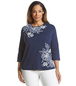 Alfred Dunner® Plus Size Bon Voyage Checkered Floral Knit Top