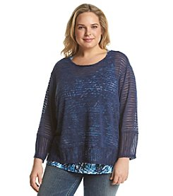 Notations® Plus Size Popover Layered Look Knit Top