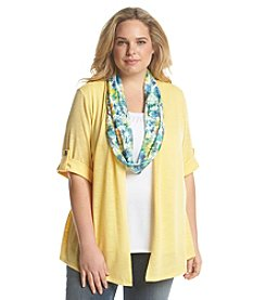 Notations® Plus Size Solid Layered Look Knit Top