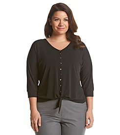 Notations® Plus Size Solid Button Up Tie Front Top