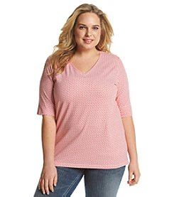 Jones New York Sport® Plus Size Geo Print V-Neck Top