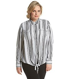 Jones New York Signature® Plus Size Tie Front Stripe Blouse