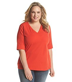 Jones New York Sport® Plus Size Three-Quarter V-Neck Tee