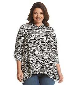 Jones New York Sport® Plus Size Zebra Sharkbite Button Up