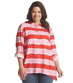Jones New York Sport® Plus Size Tie Dye Sharkbite Button Up Shirt