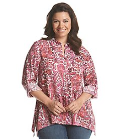 Jones New York Sport® Plus Size Paisley Sharkbite Button Up