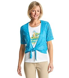 Alfred Dunner® Ocean Drive Scenic Crochet Layered Look Sweater