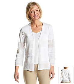 Alfred Dunner® American Dream Solid Pointelle Cardigan